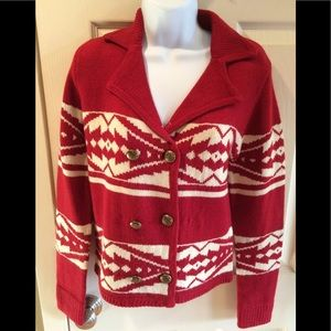 FLYING TOMATO Anthropologie Sweater Nordic Red Ski